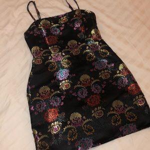Zara metallic flowered night out dress